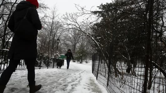 Wet and slushy conditions in Brooklyn's Prospect Park, New York.